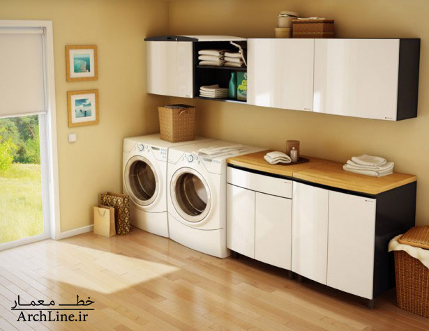 amusing-minimalist-laundry-room-with-white-cabinets-design-ideas-plus-two-washing-machine-and-parquet-flooring-615x475