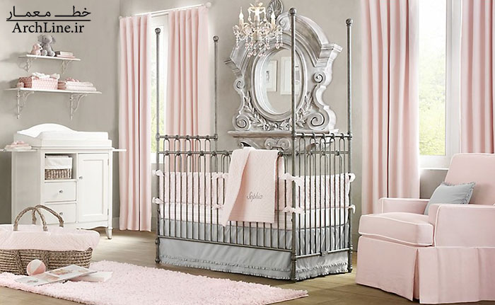 excellent-white-unique-mirror-for-baby-girl-nursery-furniture-plus-comfort-quilts-as-well-as-pink-curatin-and-accent-chair-and-shelves-dresser-laminate-flooring