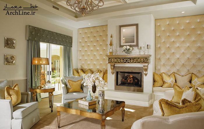 luxury-living-room-gold-accents-and-upholstered-tufted-walls
