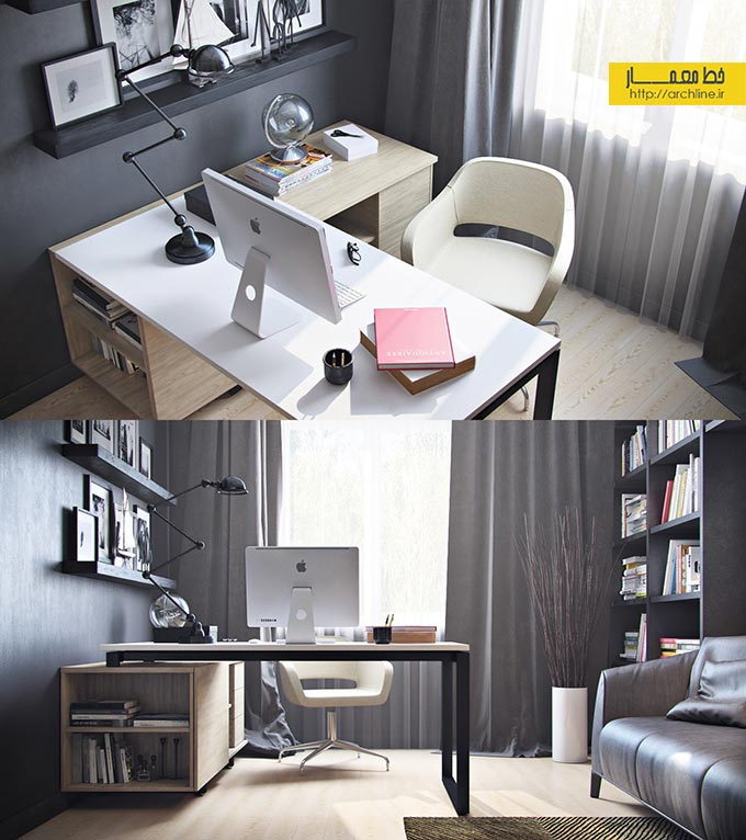 نمونه home office، طراحی home office