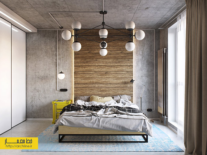 yellow-and-blue-industrial-bedroom-decor