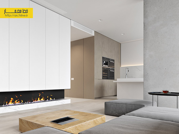 grey-couch-open-kitchen-electric-fireplace
