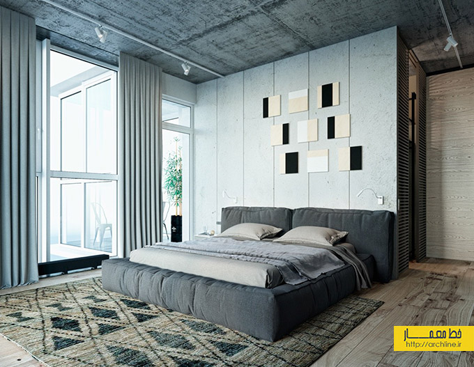 concrete-and-wood-bedroom