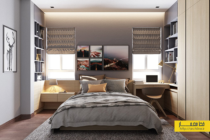 eclectic-grey-and-yellow-bedroom-design