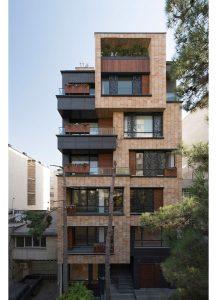 معماری آپارتمان مسکونی بوستان،طراحی نمای ساختمان مسکونی،طراحی نمای آجری