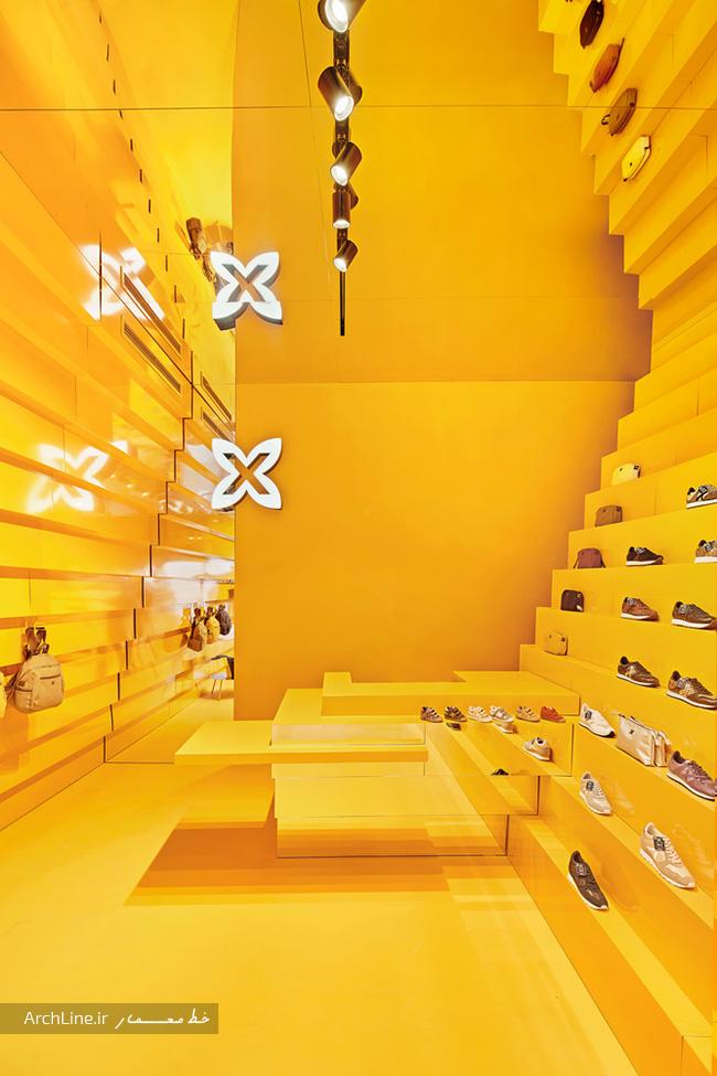 دکور رنگی مغازه کیف و کفش