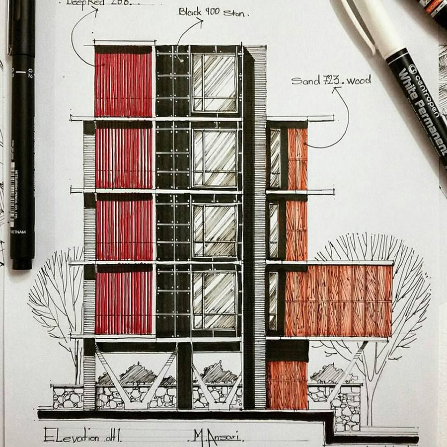 نمای ساختمان یک و دو طبقه