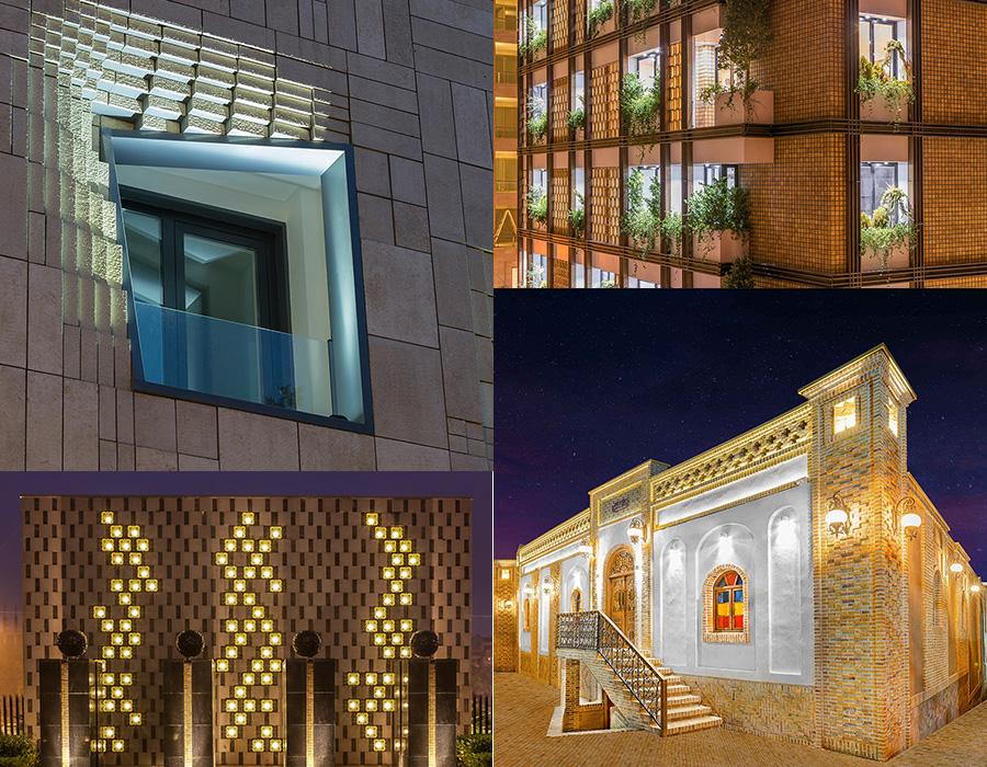 نورپردازی نمای ساختمان دو طبقه
