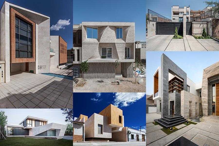 طراحی نمای ساختمان دو طبقه سنگ